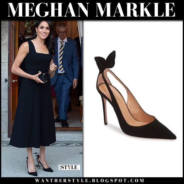 Meghan Markle in black cocktail dress emilia wickstead and black suede pumps aquazzura royal family fashion july 10