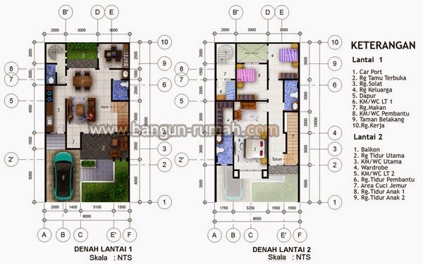 Membangun rumah dengan luas lahan antara  Desain Rumah Minimalis 2 Lantai Luas Tanah 90M2