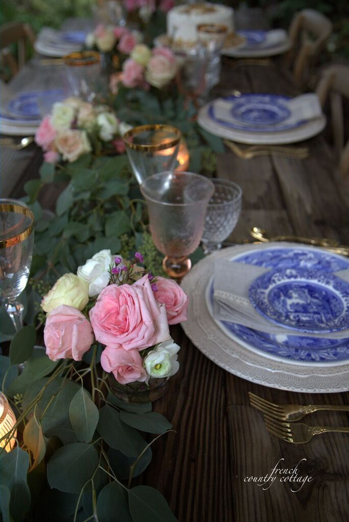 All in the details rustic blue white table setting