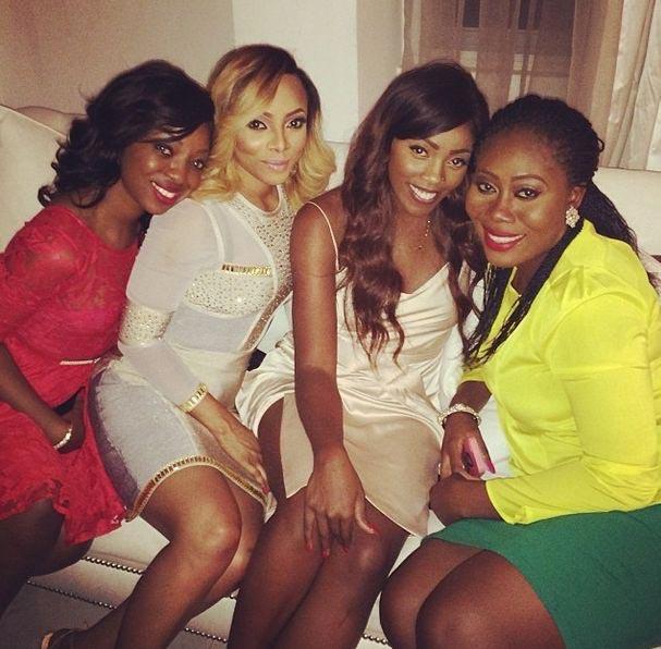 Throwback photo of Tiwa Savage & TeeBillz, Toke Makinwa & Maje Ayida