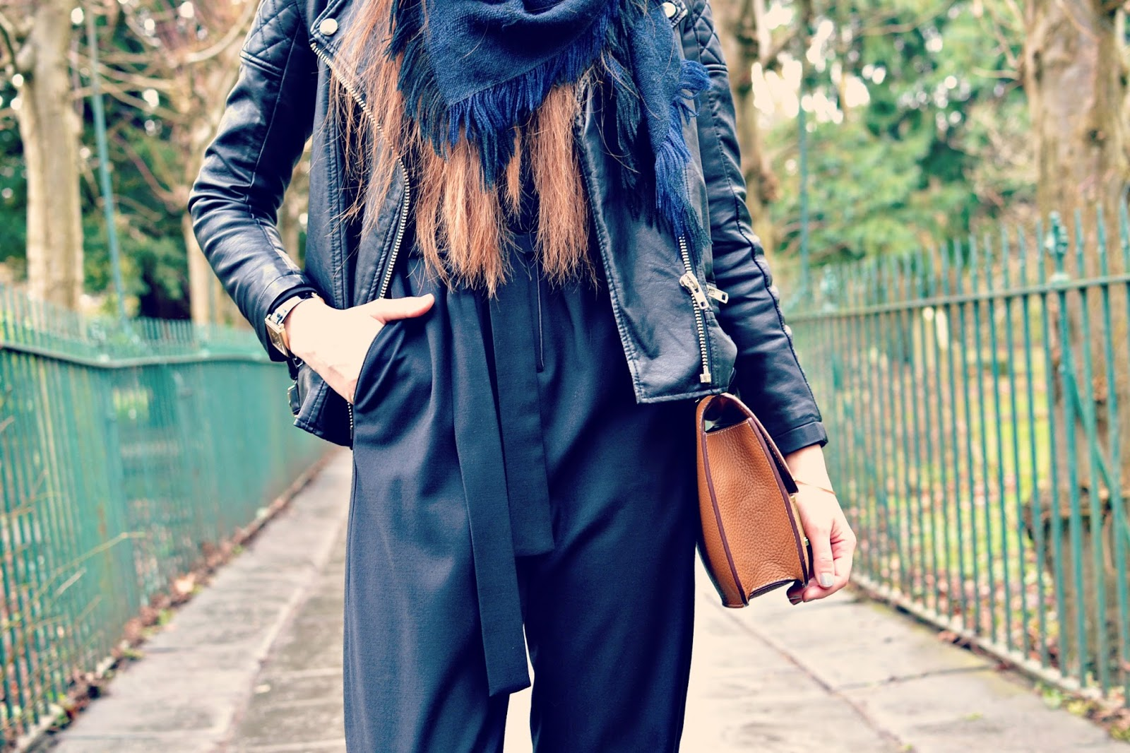 Close up shots of topshop boutique jumpsuit, hermes bag