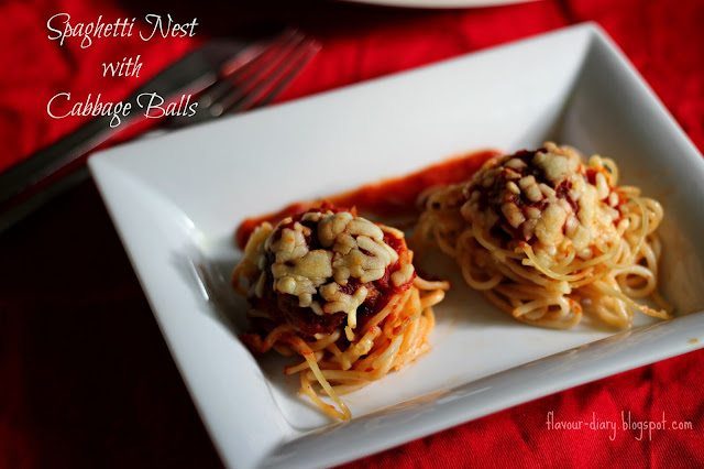 Spaghetti Nest with Cabbage Balls recipe