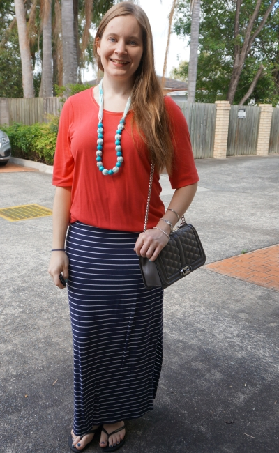 jeanswest red terracotta emma woven trim tee navy stripe maxi skirt rebecca minkoff love bag | awayfromtheblue