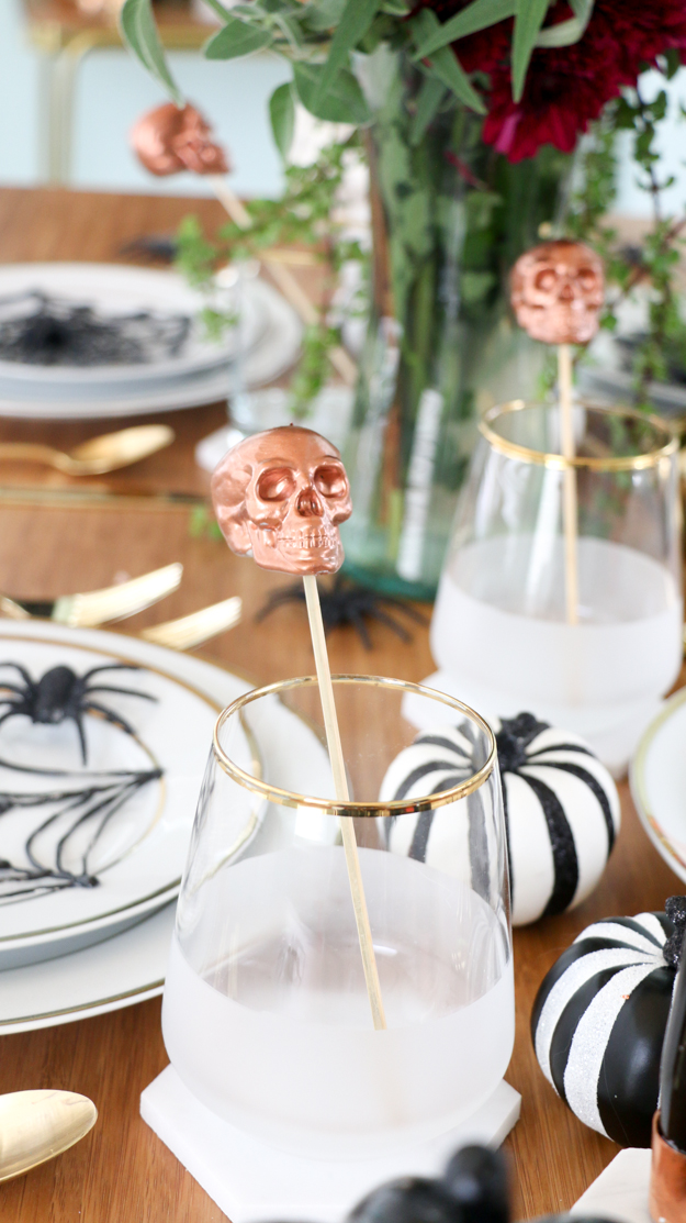 DIY Copper Skull Drink Stirrers for Halloween cocktails - Swizzle sticks