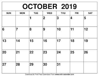 Free Printable Calendar October 2019