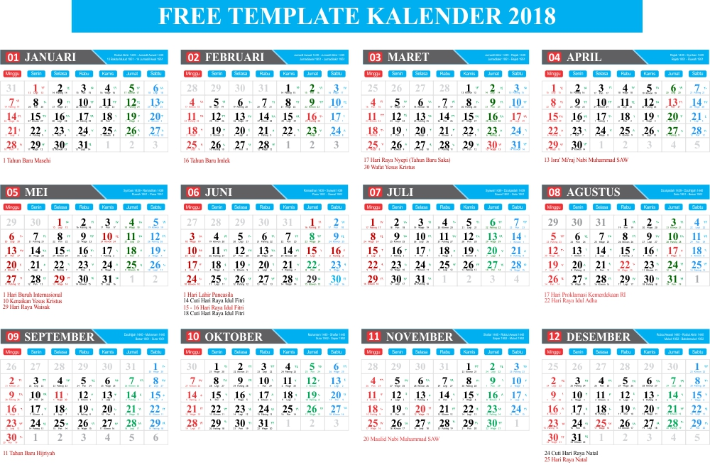 download gratis free template kalender 2018 lengkap hijriyah dan jawa editabel coreldraw hanya. Black Bedroom Furniture Sets. Home Design Ideas