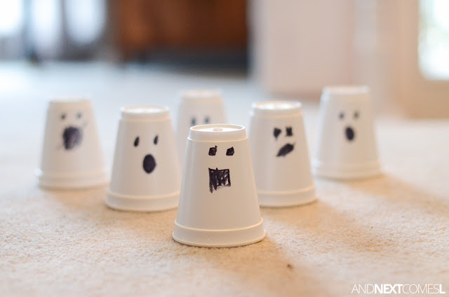Adorable ghost Halloween craft for kids from And Next Comes L