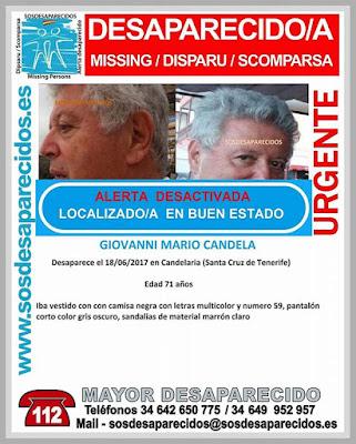 Localizan buen estado a Giovanni Mario Candela, hombre que estaba desaparecido en Candelaria, Tenerife