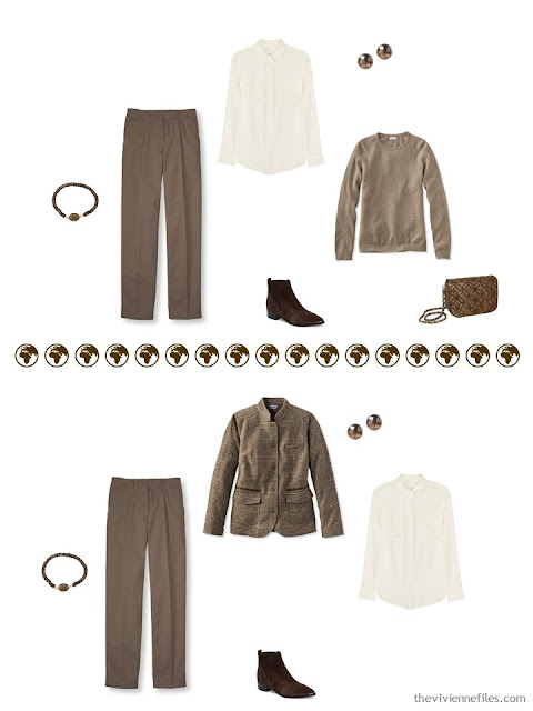 2 ways to wear brown trousers in a 4 by 4 Wardrobe