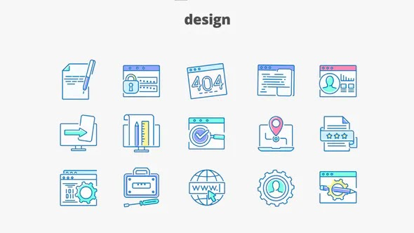 Videohive Design – Filled Outline Animated Icons 28340415