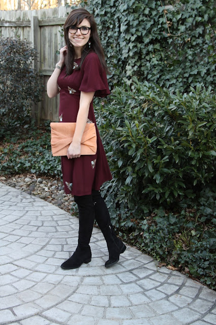 2017, birthday, over the knee boots, OOTD, burgundy, winter,