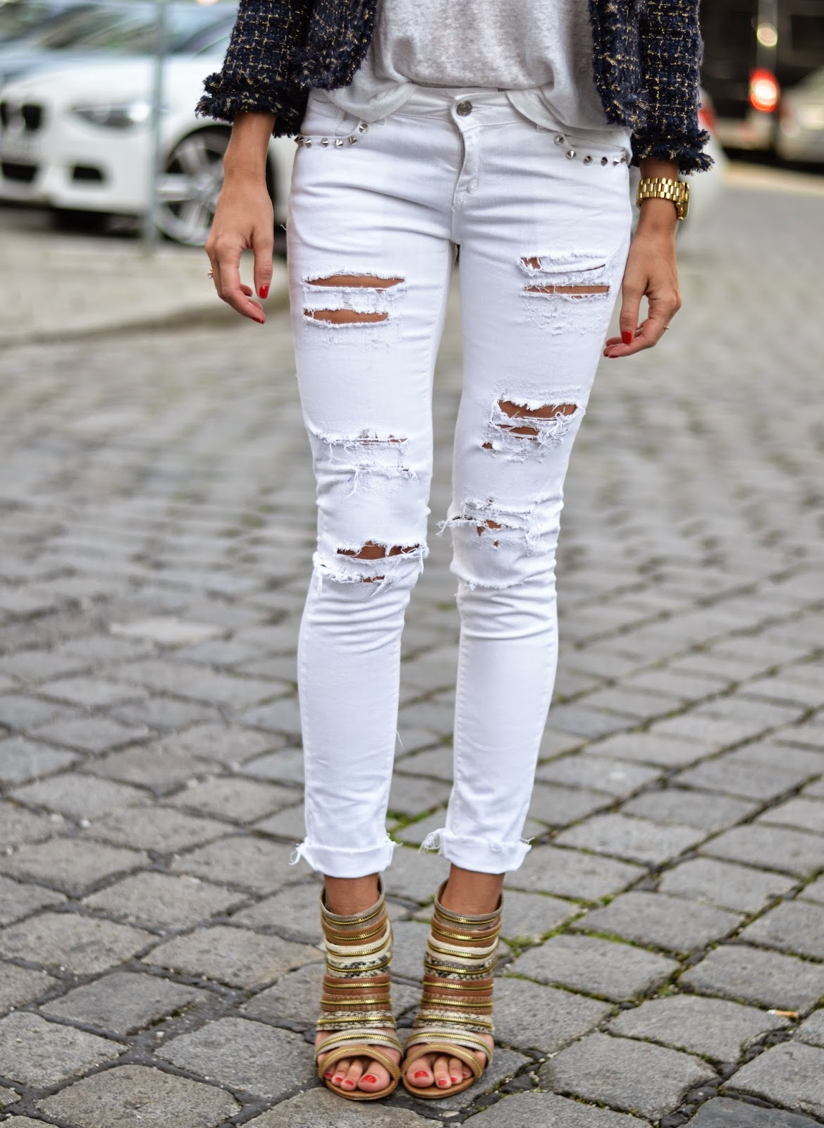 kristjaana mere white ripped skinny jeans zipper heeled shoes