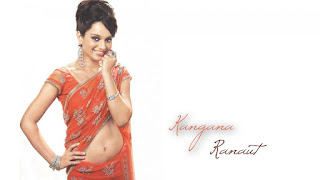 Kangana Ranaut nice orange saree wallpapers
