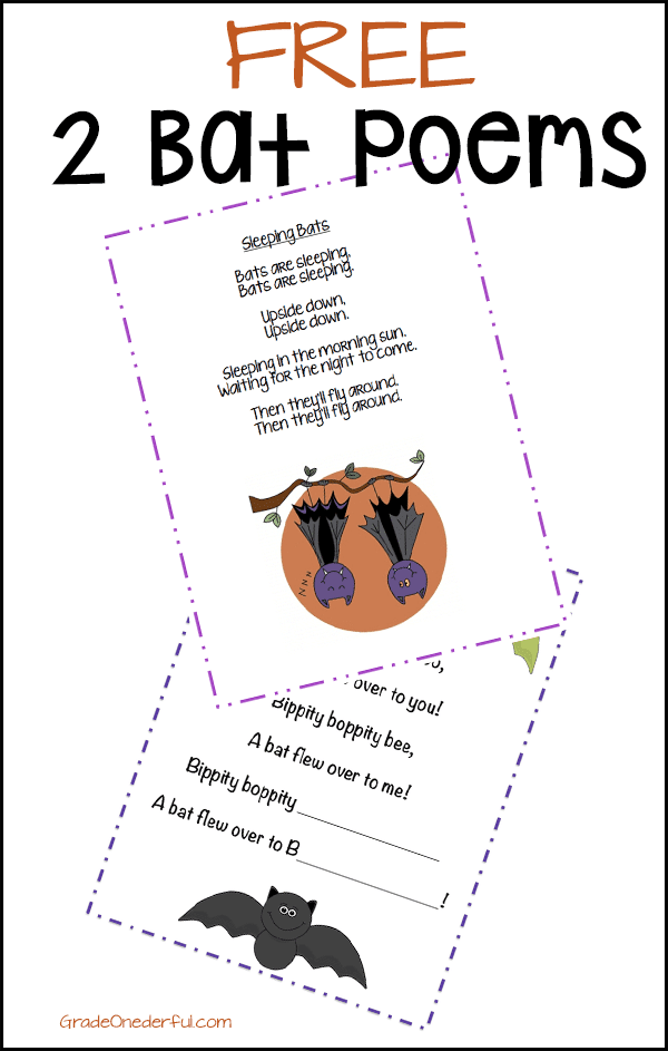 Two free bat poems. Perfect for K to 2. #gradeonederful #bats #batpoems #freebatpoems #poemsforkids #halloween