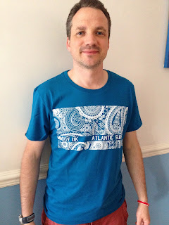 My husband wearing his blue Atlantic Surf Co t-shirt