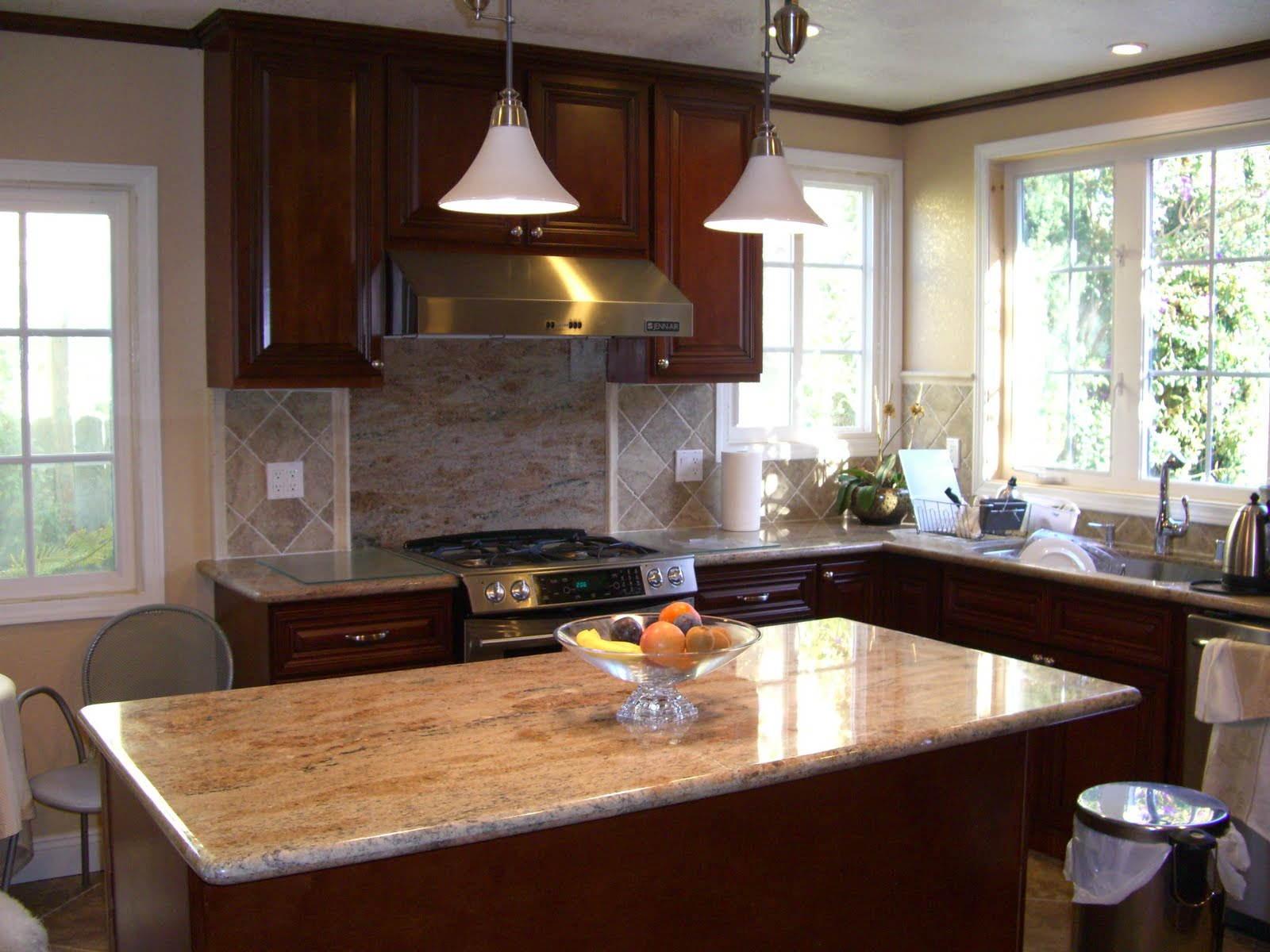 Walnut Cabinets with Granite Countertops