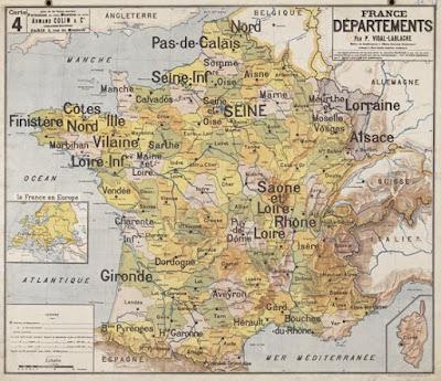 Carte Vidal-Lablache, les départements de France (sans l'Alsace-Lorraine), avant 1900 (collection musée)