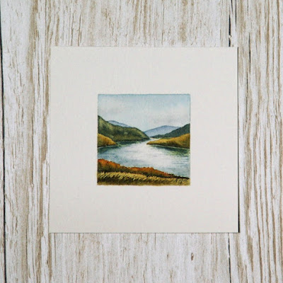 Scottish watercolour landscape painting with loch #2
