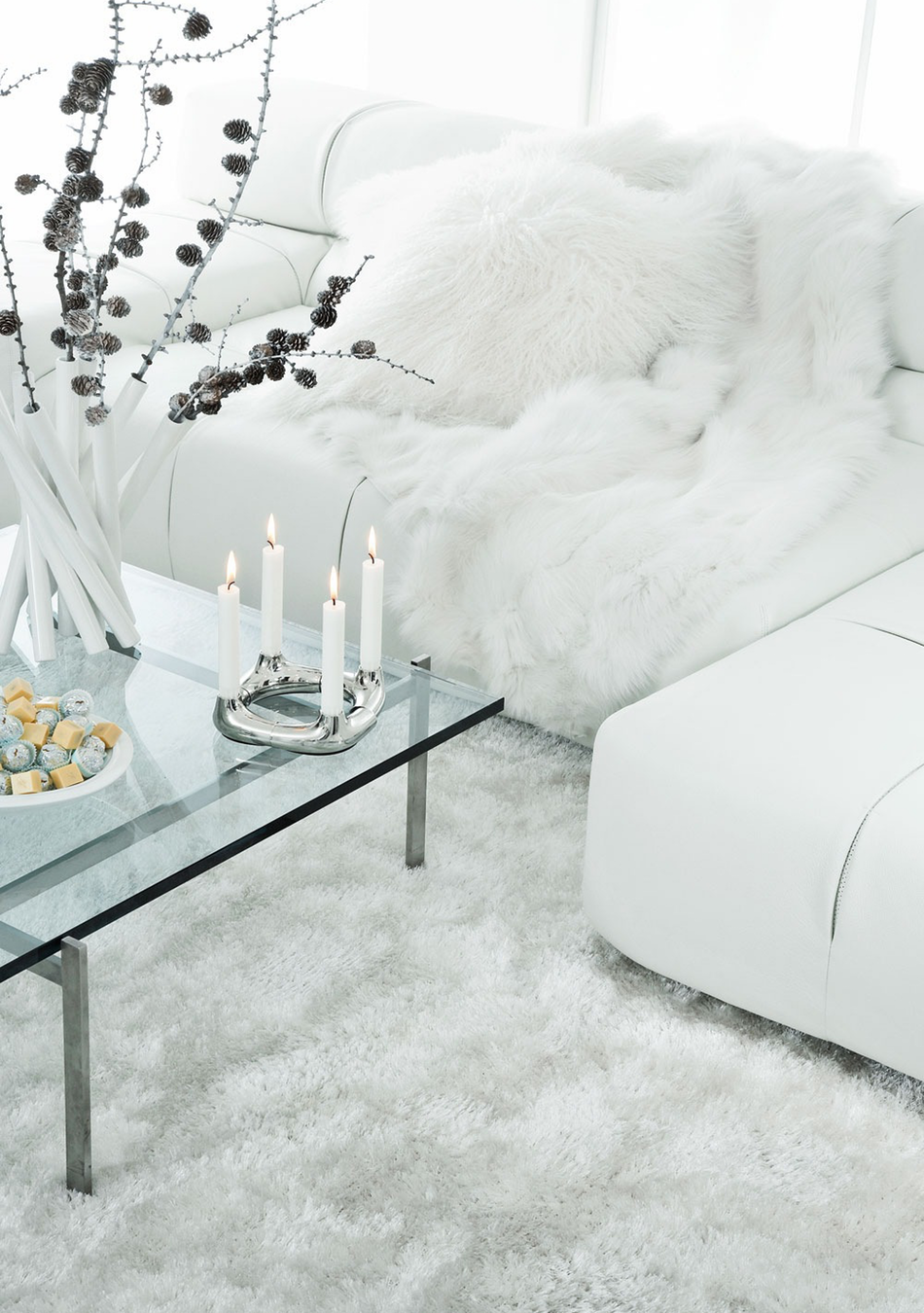 All White Modern Holiday Decor