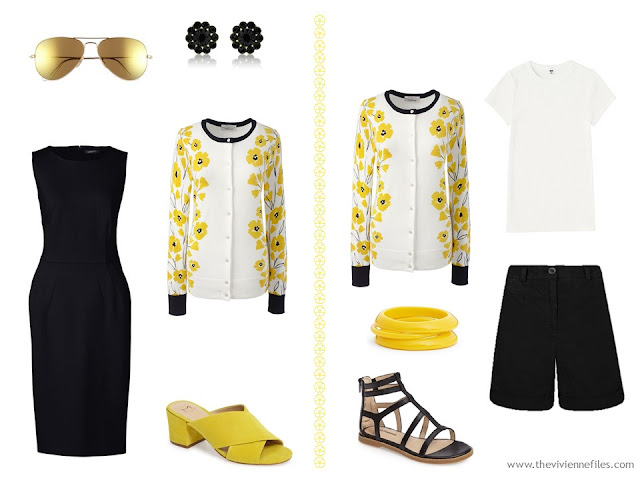 black dress with yellow floral cardigan, shorts and a tee shirt with a floral cardigan