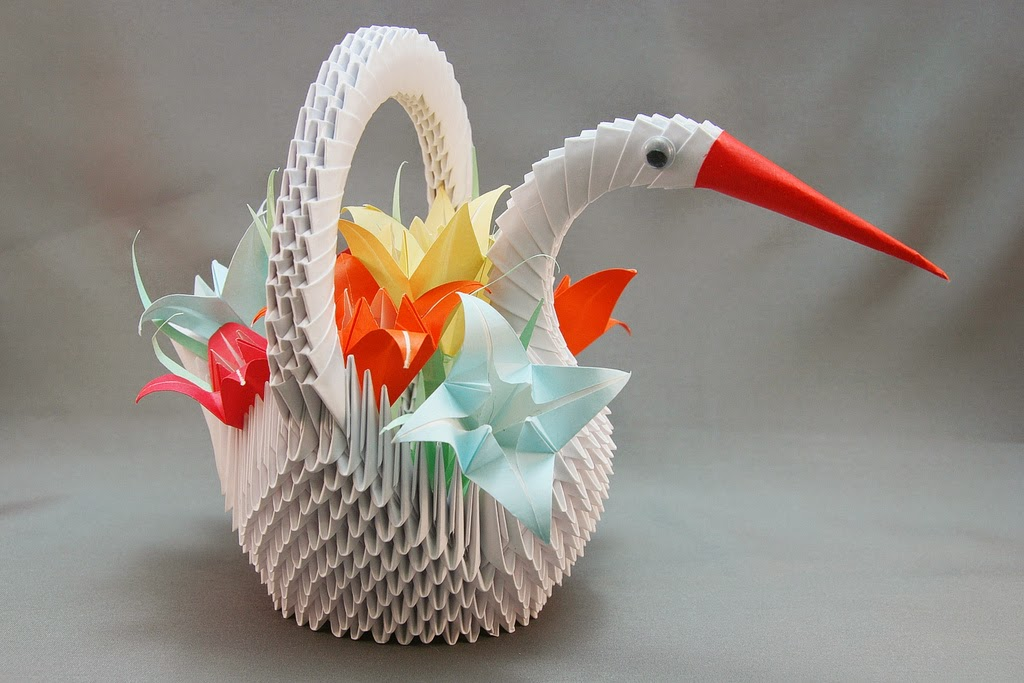THE BIG 3D ORIGAMI HEART SWAN | Wonderwheel Store | 683x1024