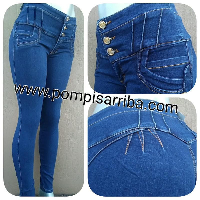 Modelo # 05   – Azul Mezclilla, Pretina Alta, detalles al Frente COmfy Jeans