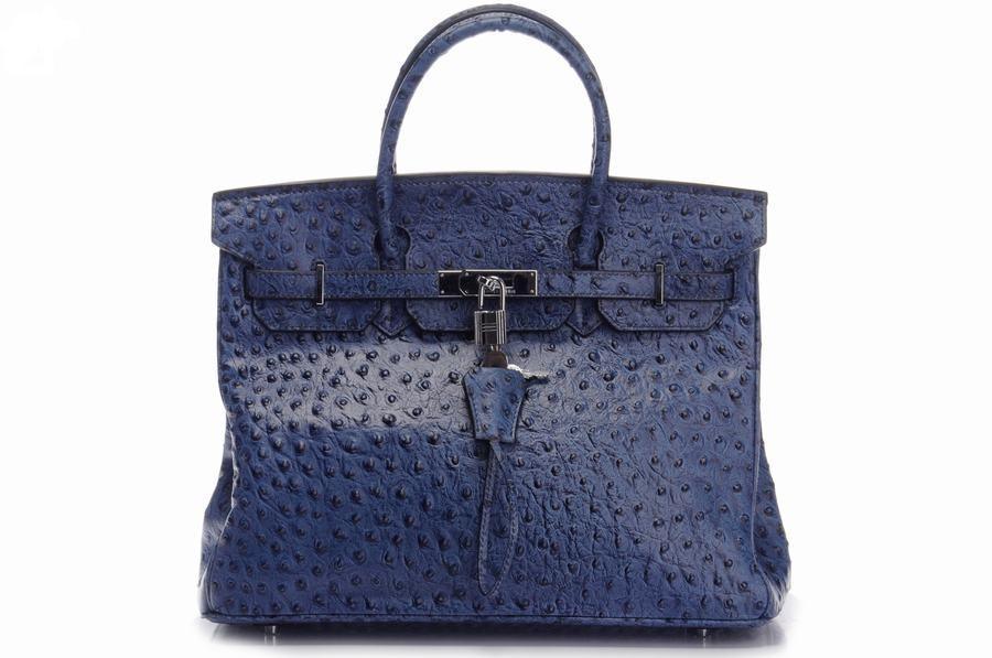 87f0ff0d6 Hermes Birkin 35CM Bolsas de avestruz de color azul oscuro