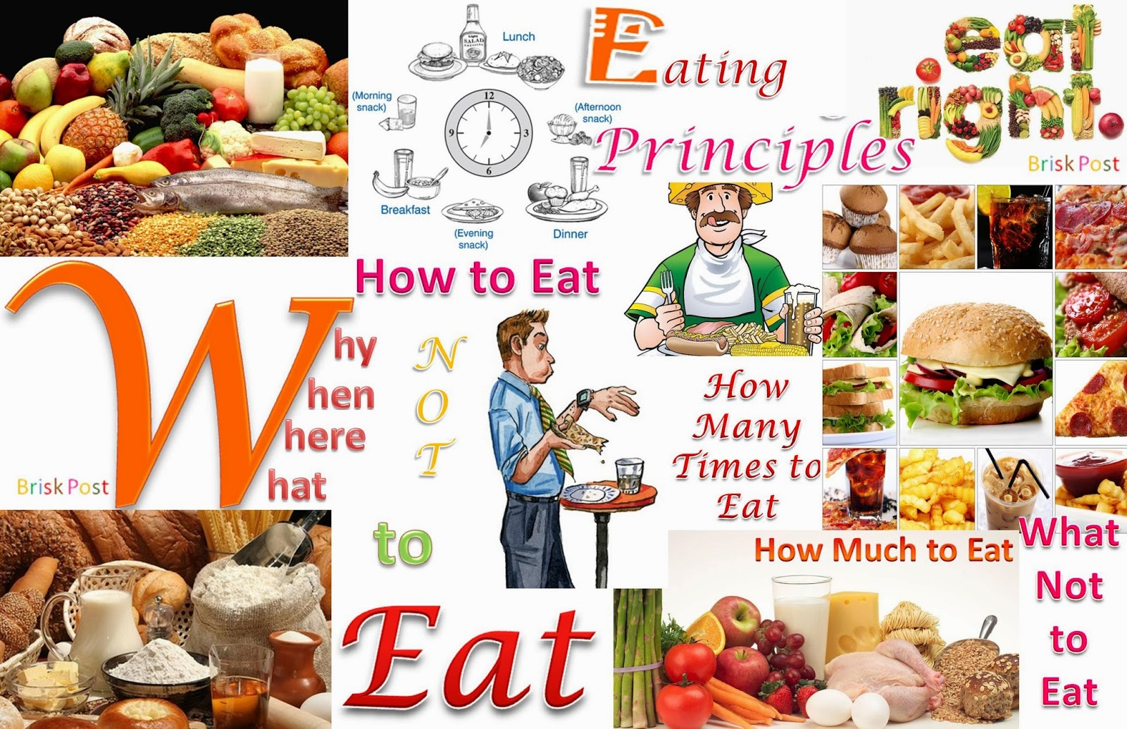 Principle Eating Habits: How to eat; How many time to eat; How much to ear; What not to eat; Why, when, where, what to eat