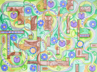Labyrinth, my colorweave watercolor that won the first place ribbon