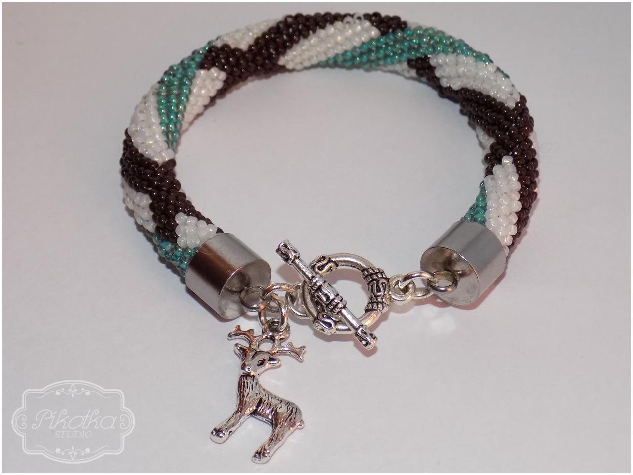 bransoletka, handmade, rękodzieło, crochet bead, sznur szydełkowo-koralikowy, biżuteria, ukośnik, koraliki toho, toho round, toho beads,