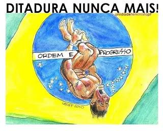 charge contra ditadura mostra pau de arara sobre a bandeira do brasil
