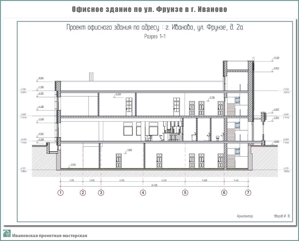 Проект офисного здания по ул. Фрунзе г. Иваново. Эскизный проект - Разрез