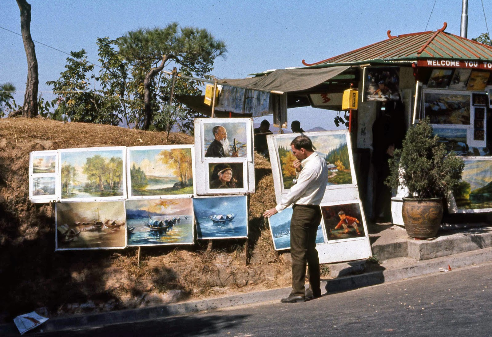 Prints for sale on the side of the road - Hong Kong 1969