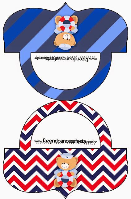 Etiquetas de Osito Marinero para imprimir gratis.