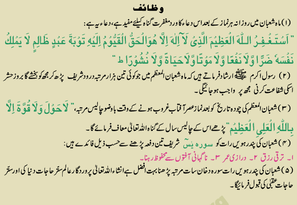 mah-e-shaban may parhnay walay wazaif
