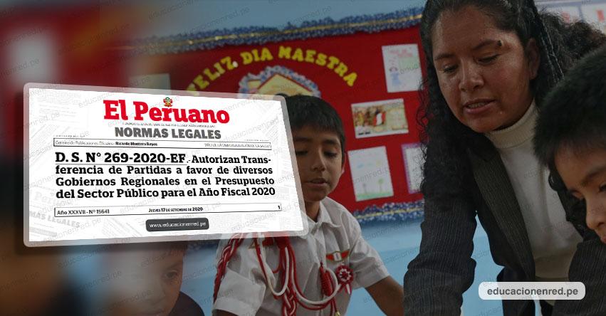 Transfieren más de S/ 178 millones para pago de docentes (D. S. Nº 269-2020-EF)