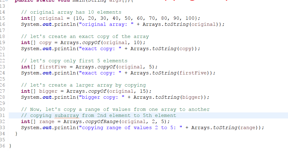 How to copy elements of one array to another array in Java