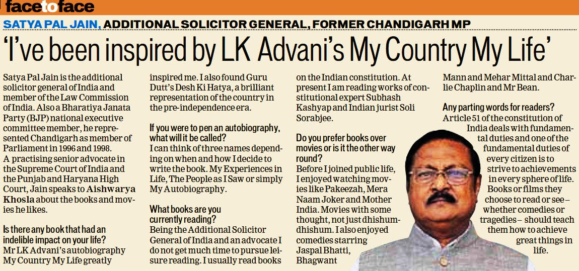 'I've been inspired by LK Advani's My Country My Life' - Satya Pal Jain, Additional Solicitor General of India