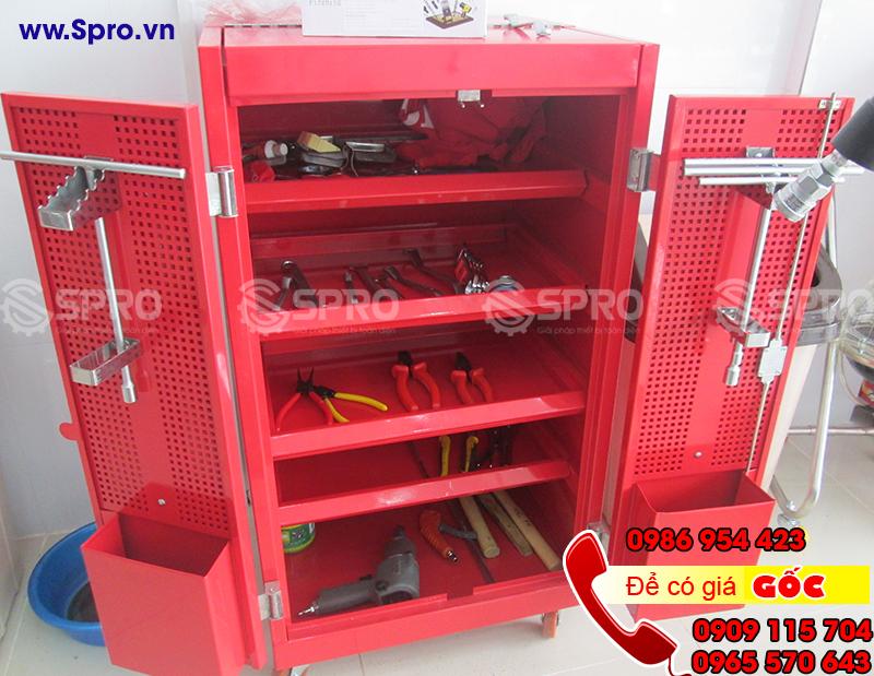 Tủ 5 ngăn, tủ đựng đồ nghề dụng cụ 5 ngăn 2 cánh có khóa 4 bánh xe