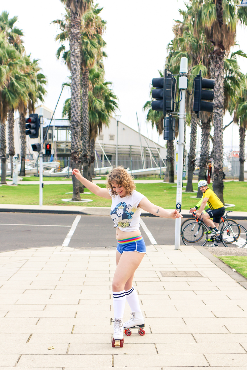 Liana of @findingfemme roller skates in Geelong for Juliette Has a Gun