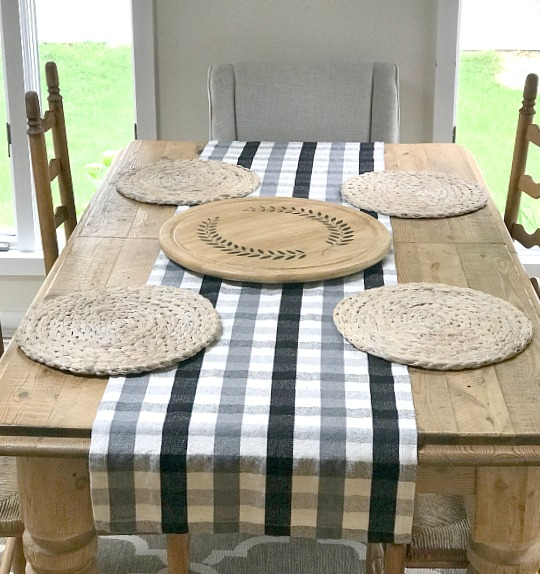 Large farmhouse table with extra large lazy Susan