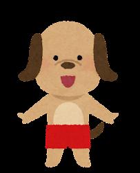 水着の動物のキャラクター(犬の男の子)
