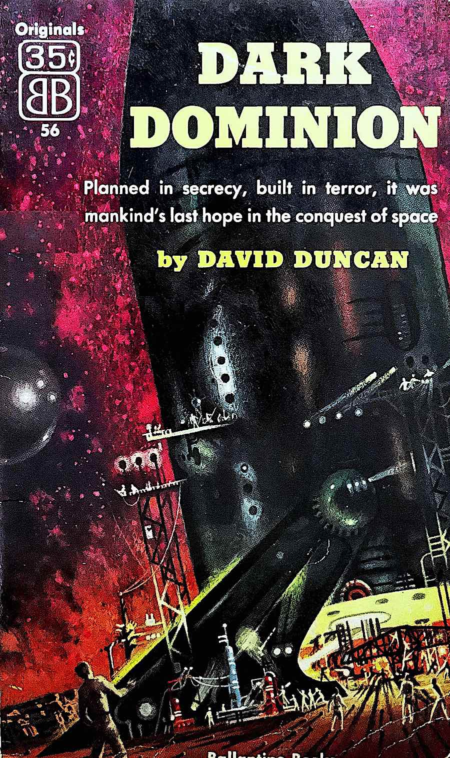 a Richard Powers illustration for a book cover, Dark Dominion by David Duncan