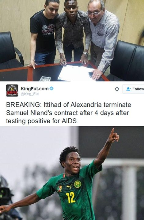 Cameroonian Football Star Fired By Club For Testing HIV Positive 4 Days After Signing Contract