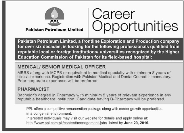 MBBS Doctors Jobs in  Pakistan Petroleum Limited