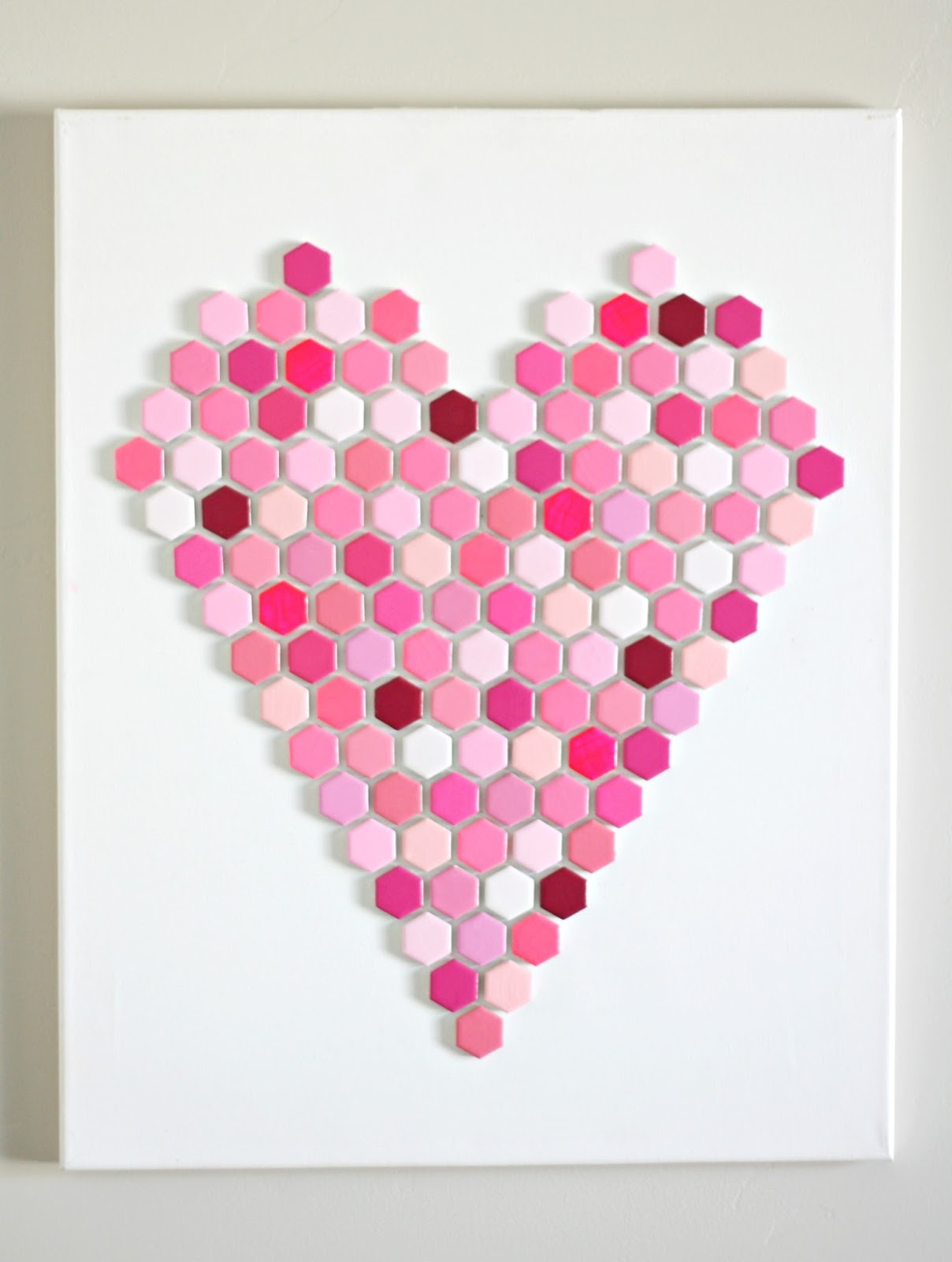 diy hexagon tile heart art 8