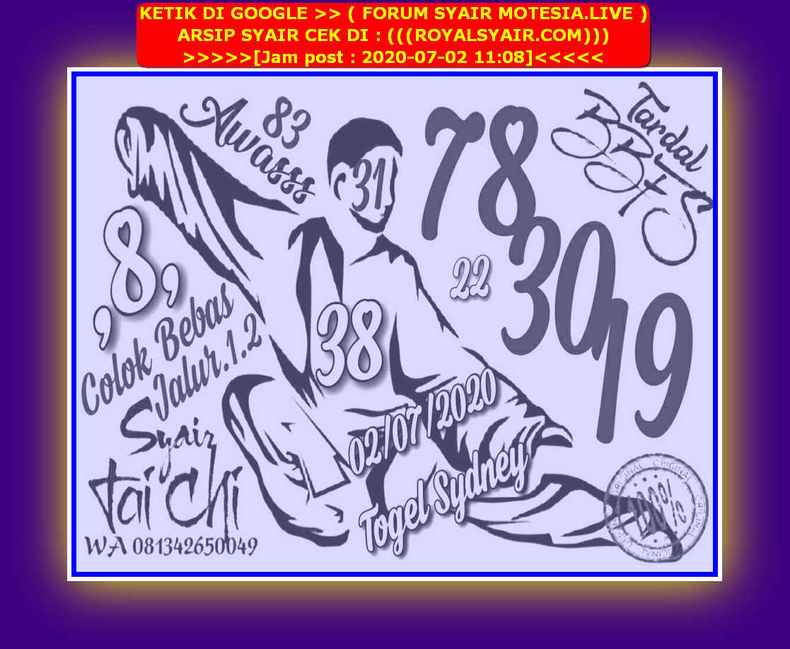 Kode syair Sydney Kamis 2 Juli 2020 16