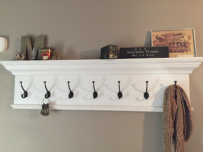 #millsnewhouse, Smith Building, coat hooks, shelf, entry way, pew