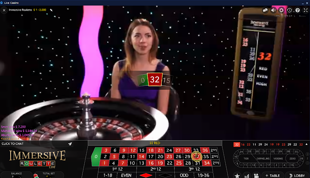 A girl dealer spinning European Roulette. Live Dealer casino games
