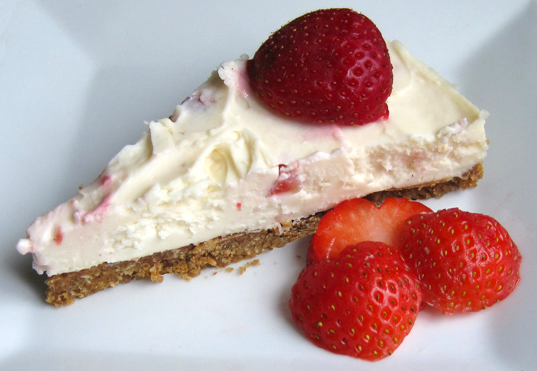 Slice of Strawberry White Chocolate and Vanilla Cheesecake